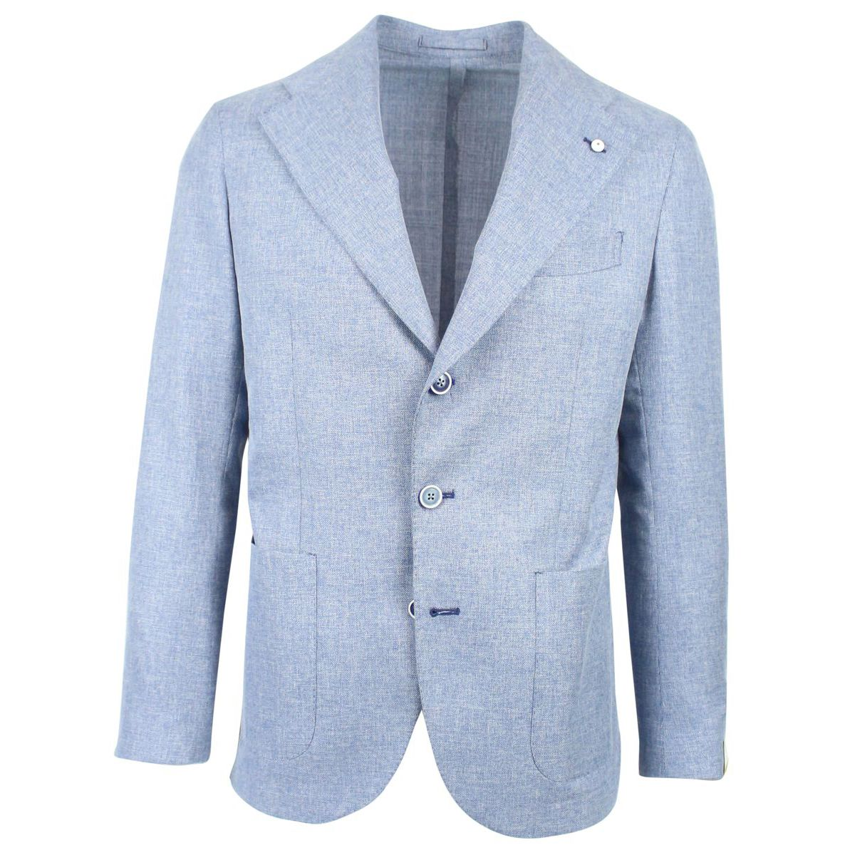 Single-breasted jacket with two slim buttons Light blue L.B.M. 1911