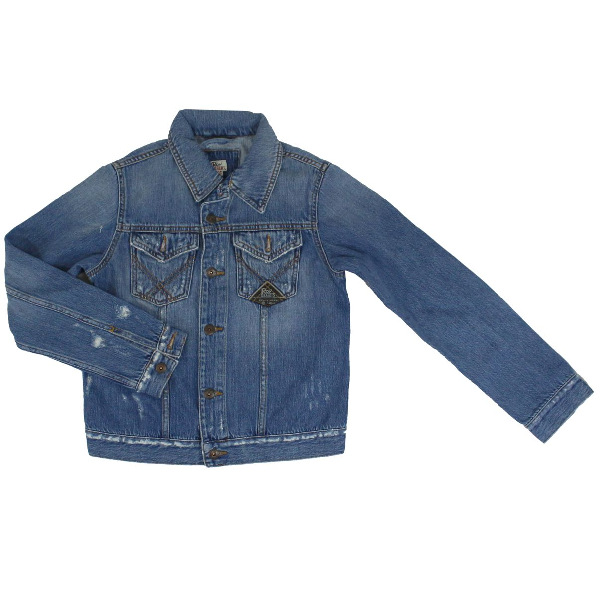 Denim jacket with rips Medium denim ROY ROGER'S