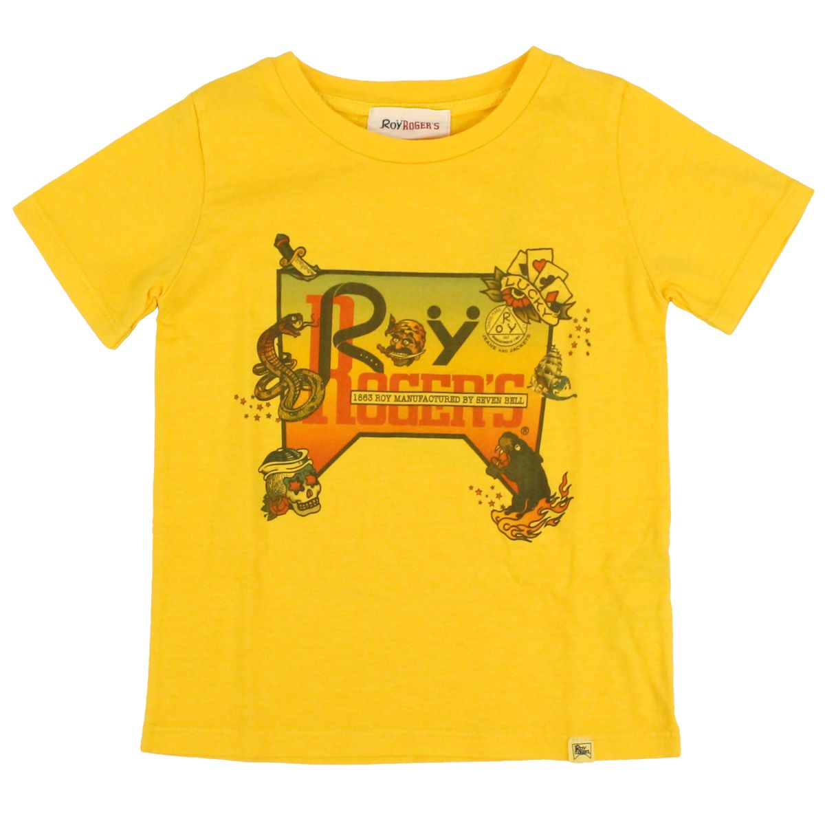 Short sleeve t-shirt with contrast print Yellow ROY ROGER'S