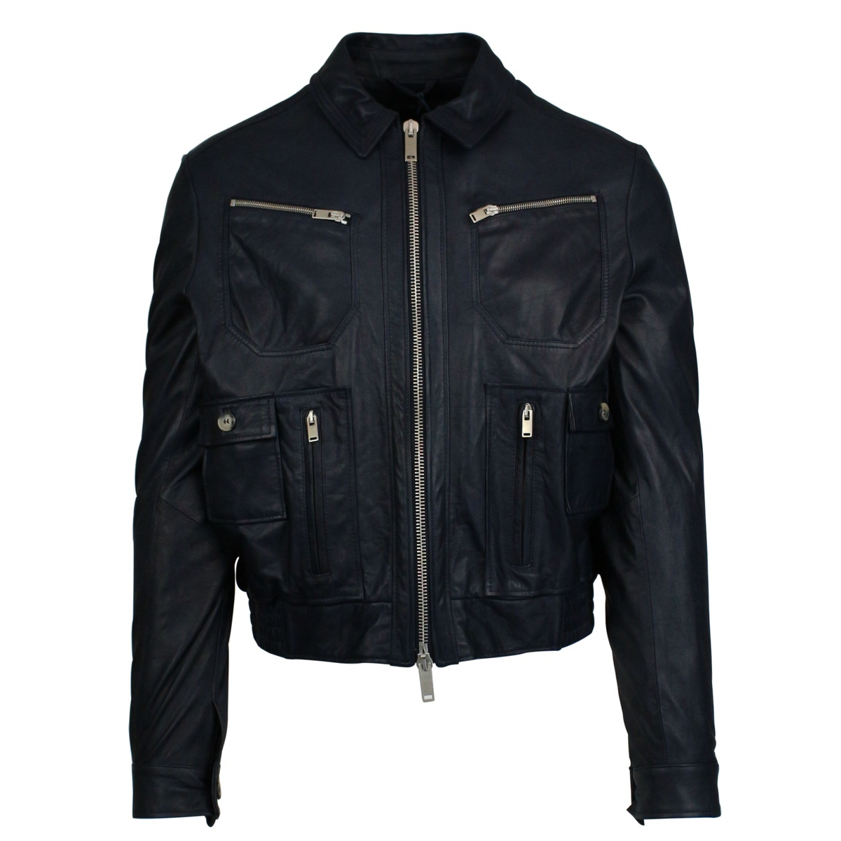 Leather jacket with pockets and zip Blue Jeckerson