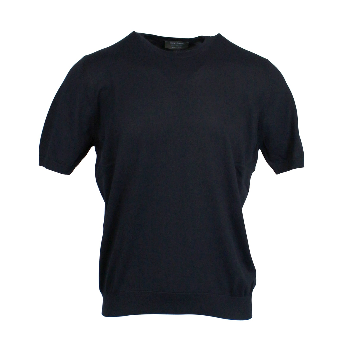 Crew-neck T-shirt with ribbed edges Navy GRAN SASSO
