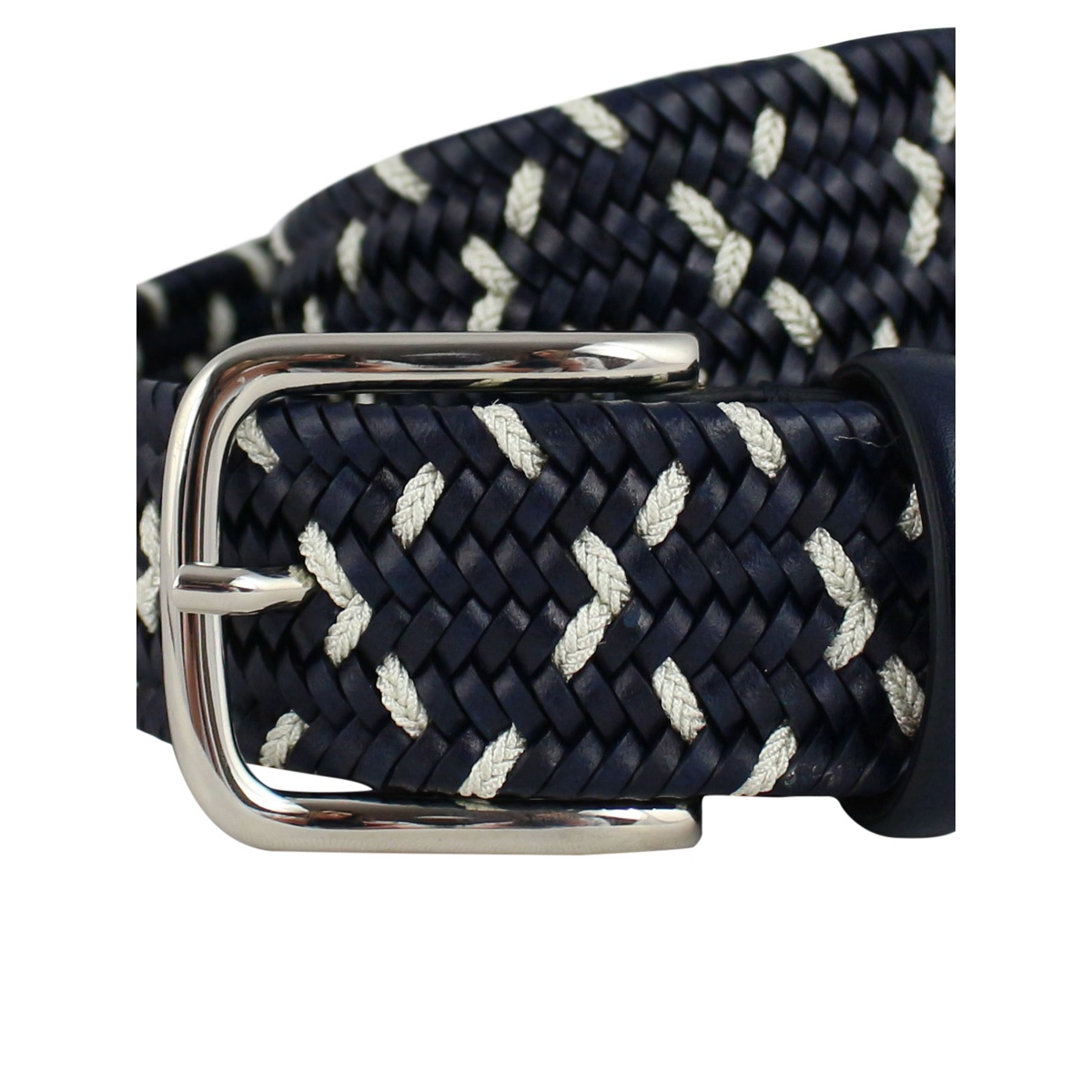 H 32 woven leather belt Blue SERGIO GAVAZZENI