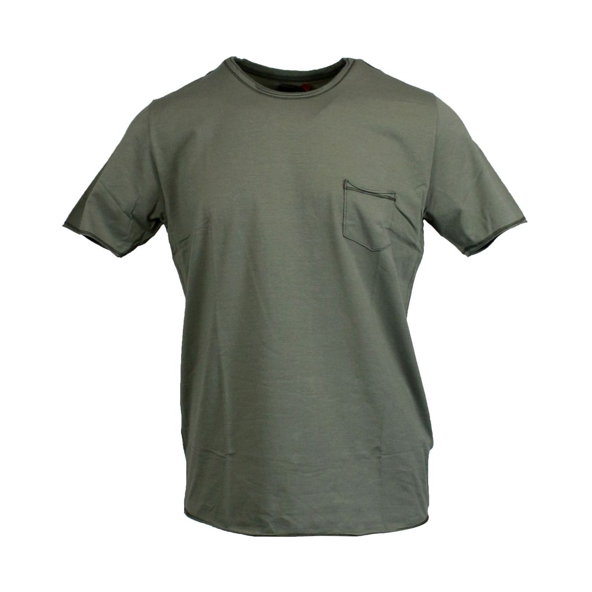 crewneck t-shirt with pocket Olive GRAN SASSO