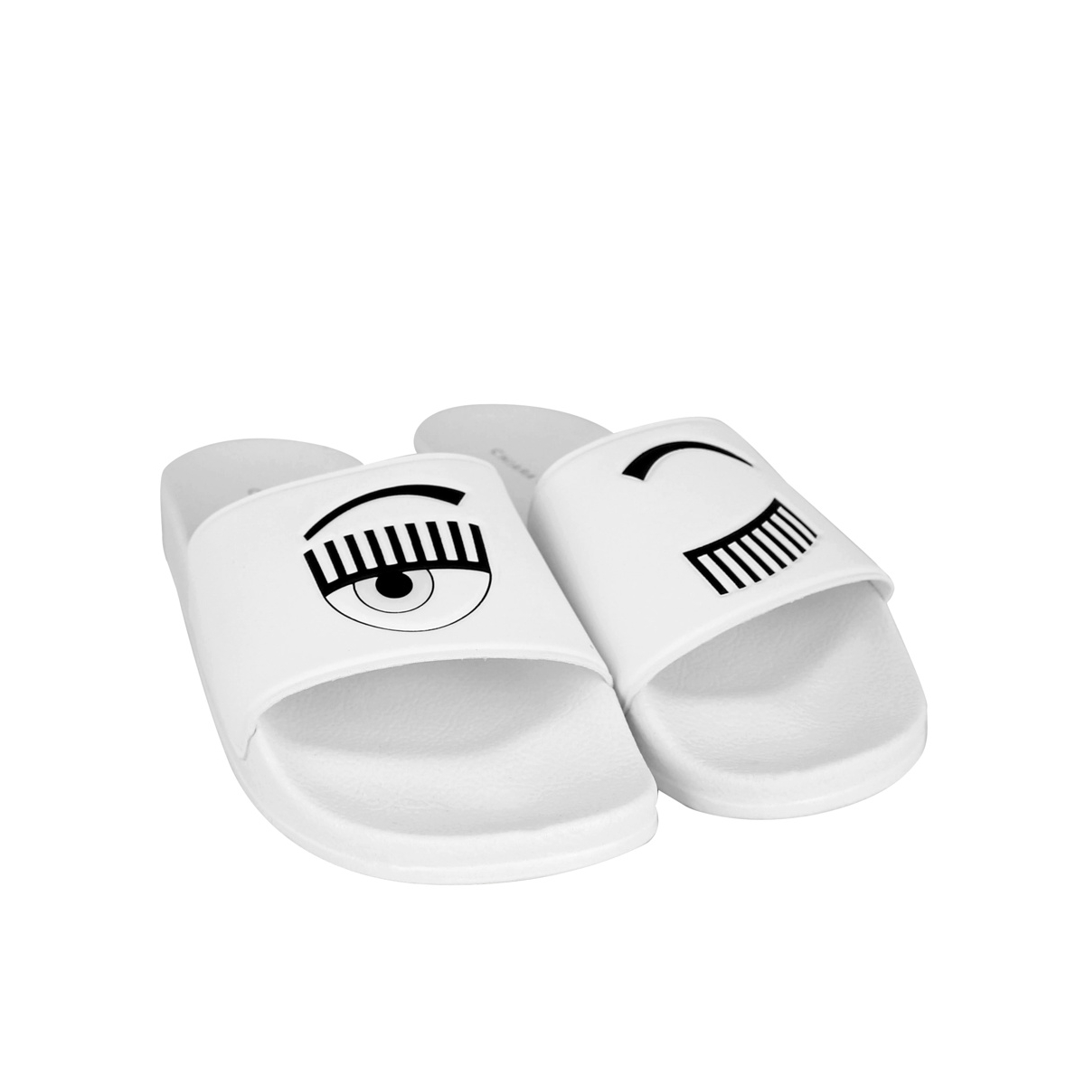 Slippers with logo White CHIARA FERRAGNI