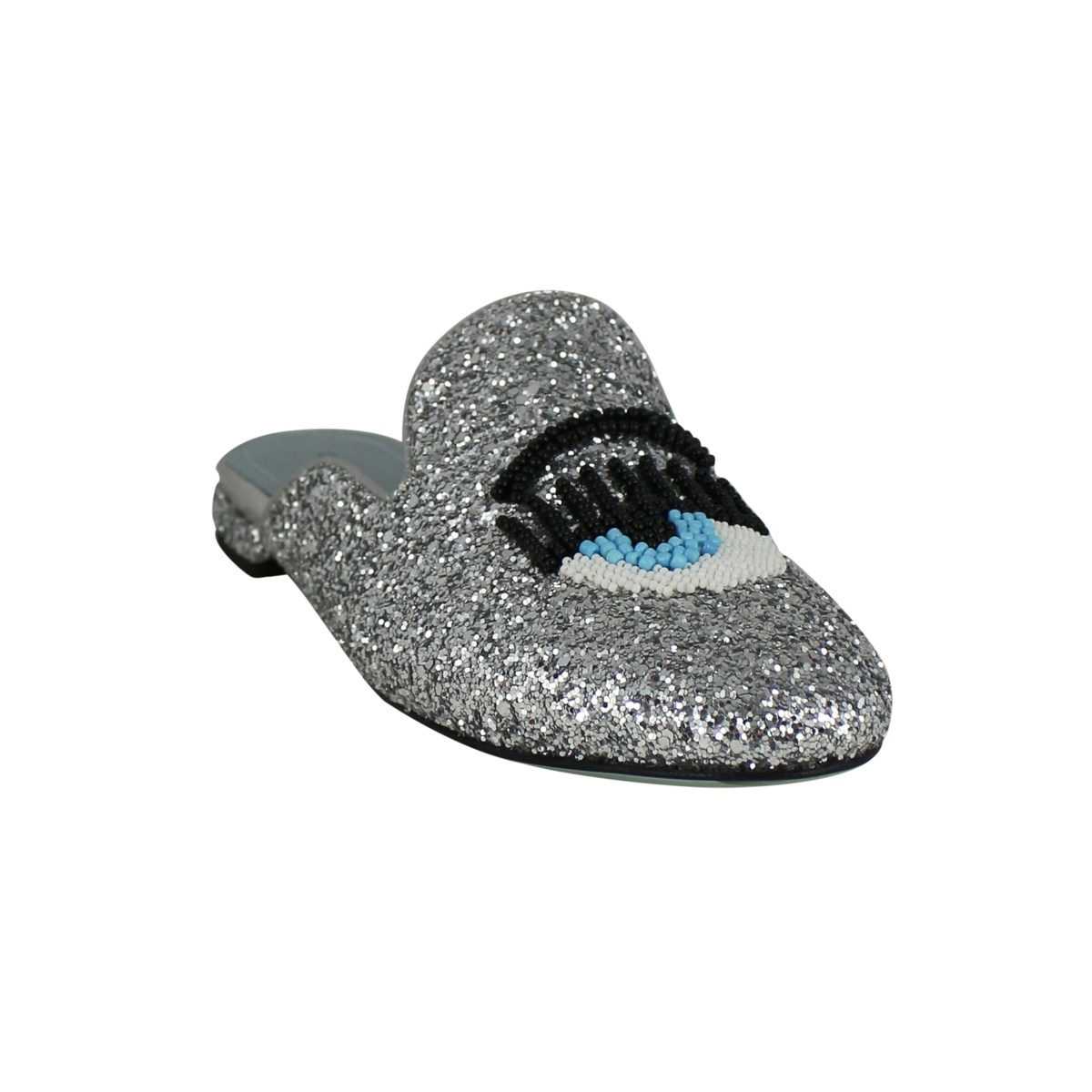 Glittered sandals with logo Silver CHIARA FERRAGNI