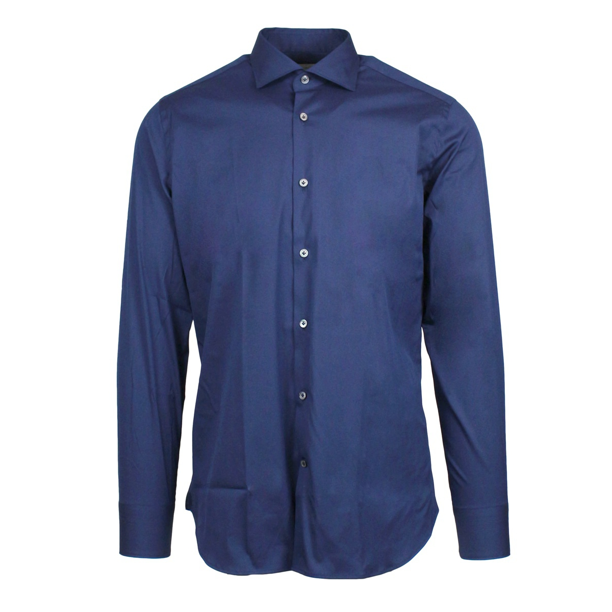 Custom-fit shirt with French collar Blue GUGLIELMINOTTI