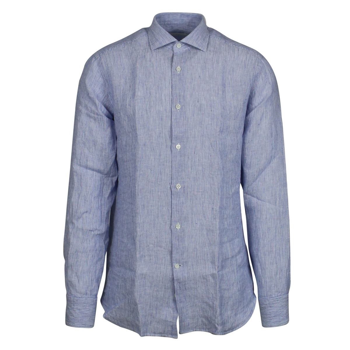 Custom-fit linen shirt Light blue Guglilminotti