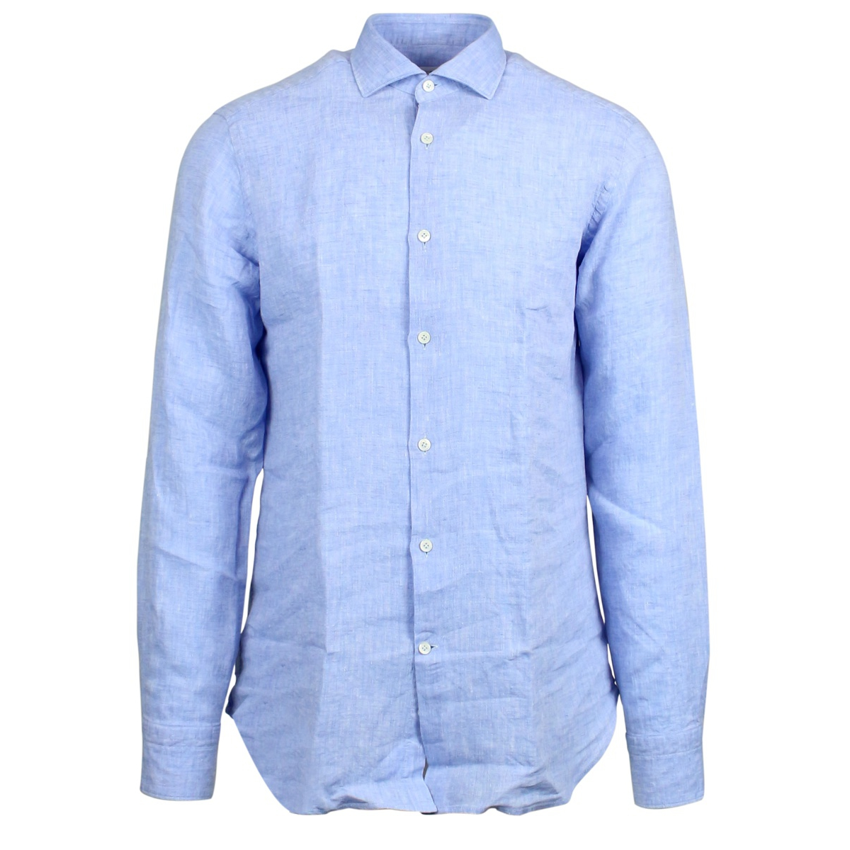 Custom linen shirt with French collar Light blue Guglilminotti