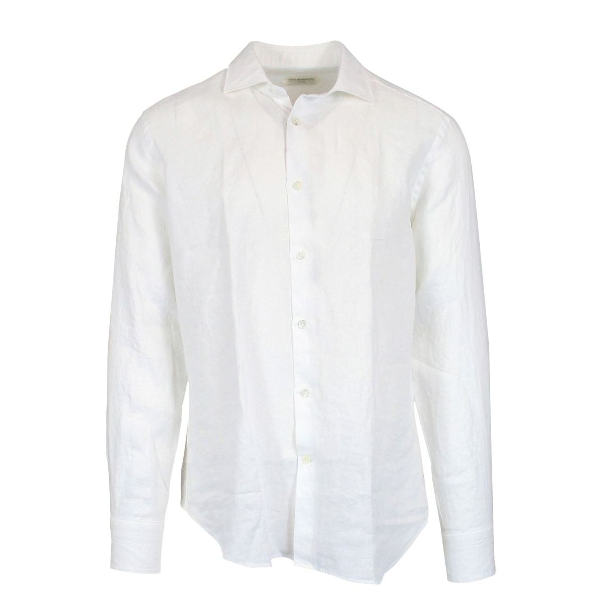 Custom linen shirt with French collar White Guglilminotti