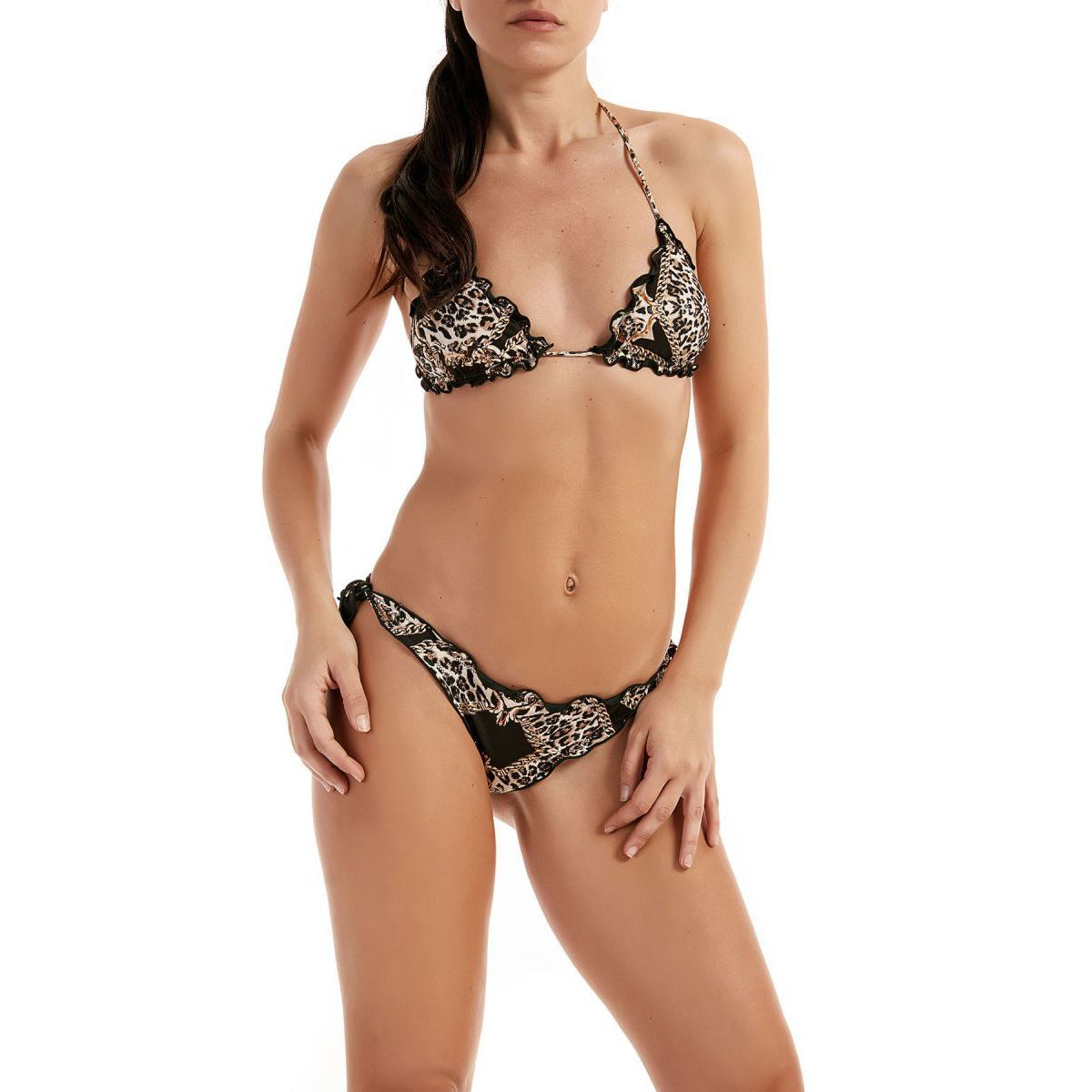 Triangle frou frou stretch bikini and The Villa knot briefs Black / beige F**K