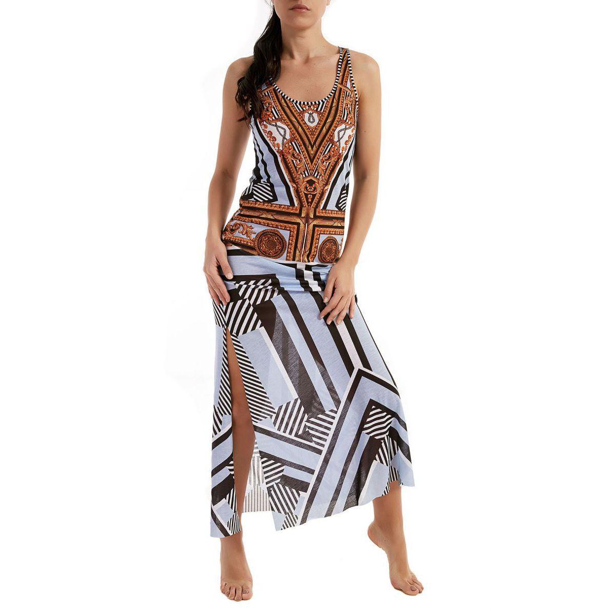 Long geometric print dress Light blue / gold F**K