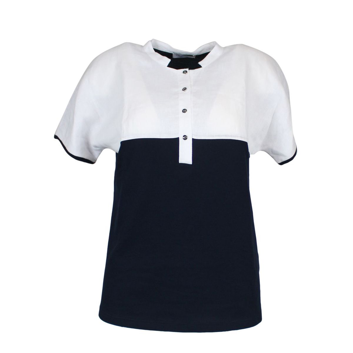 Two-colored polo shirt with buttons Navy GRAN SASSO