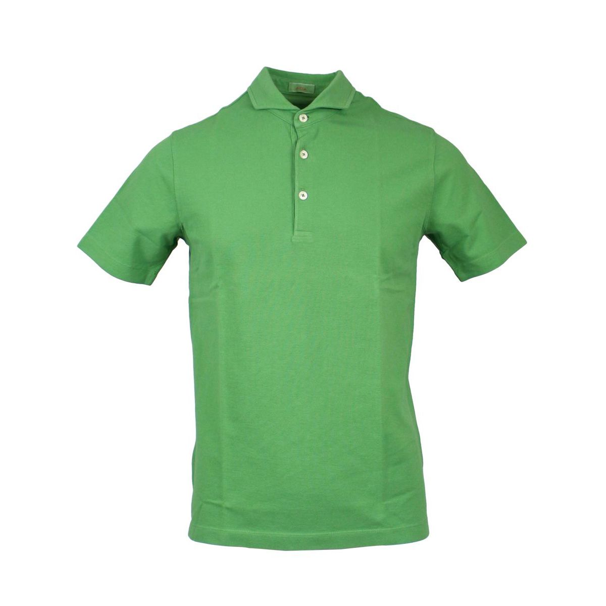 Cotton polo shirt with French collar Green ALTEA