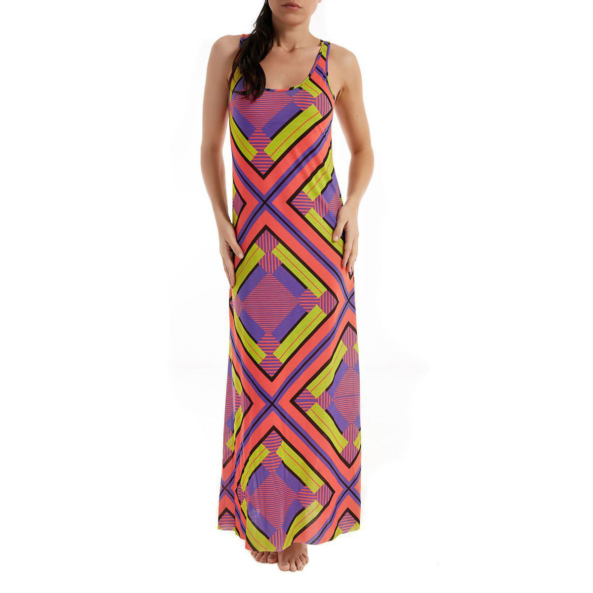 Long Papunya dress with geometric pattern Purple / green F**K