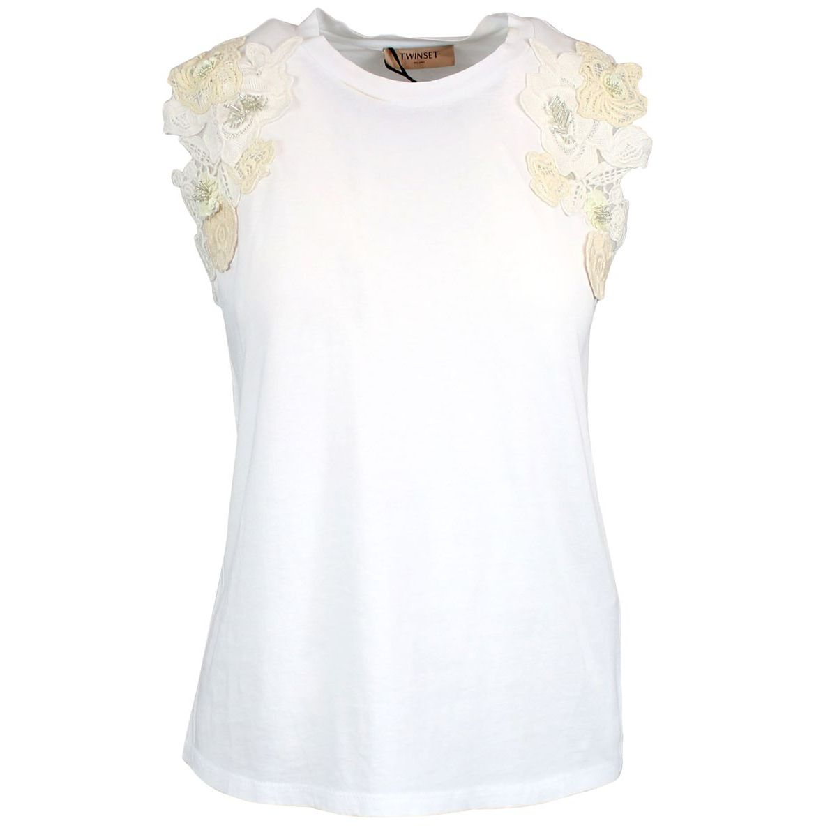 T-shirt with embroidery on the sleeves Optical white Twin-Set