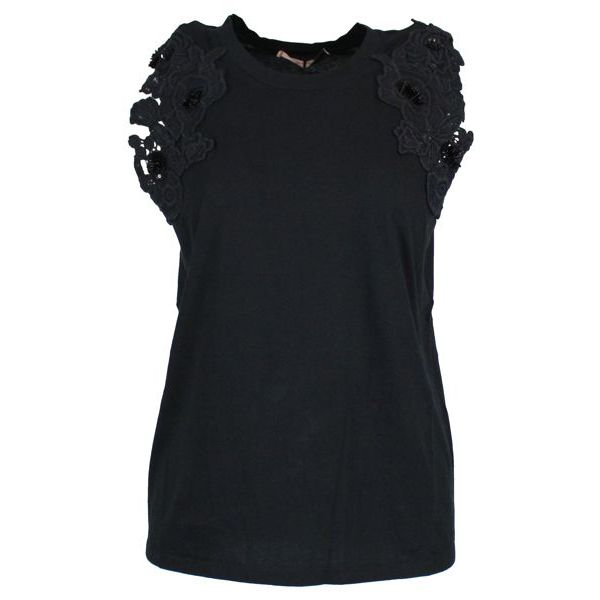 T-shirt with embroidery on the sleeves Black Twin-Set
