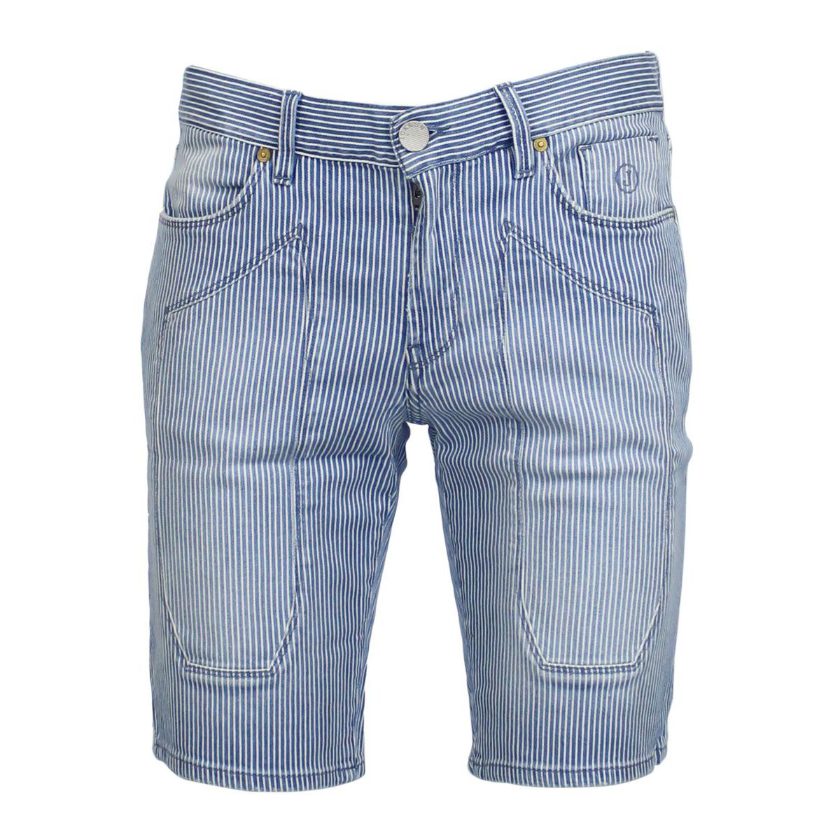 Striped denim shorts with patches Light blue Jeckerson