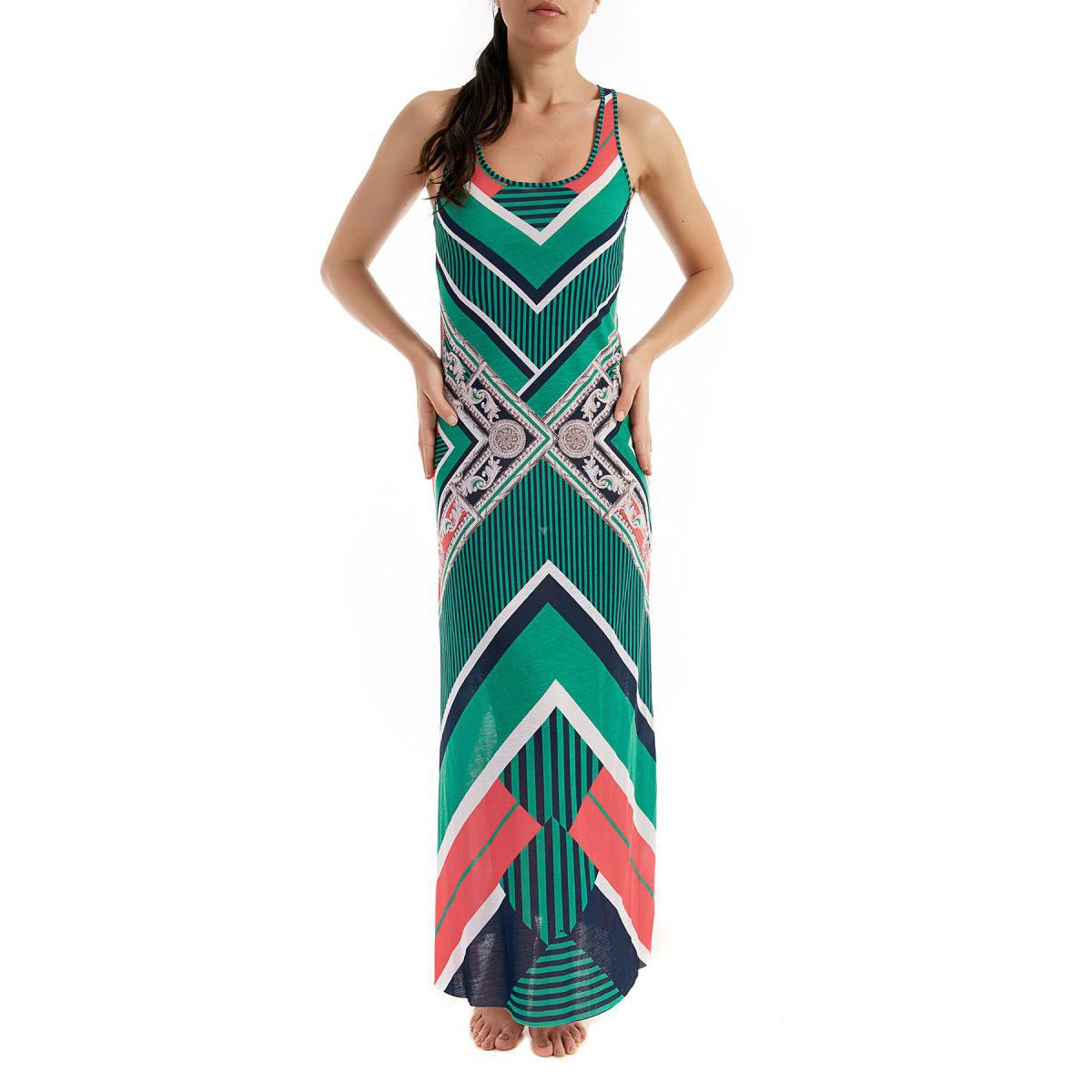 The Viulla geometric pattern long dress Blue / green F**K