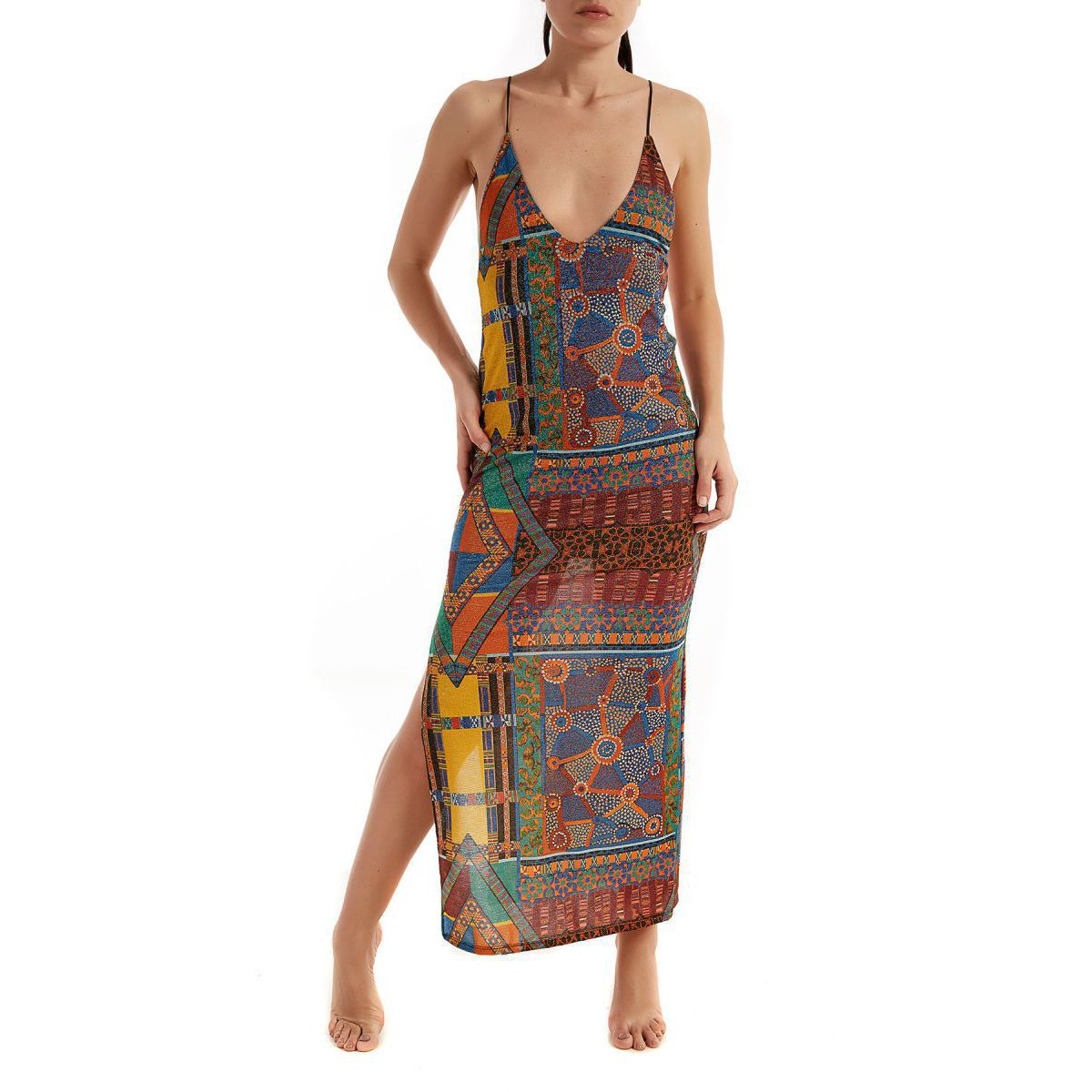 low-cut Papunya long dress Multicolor F**K