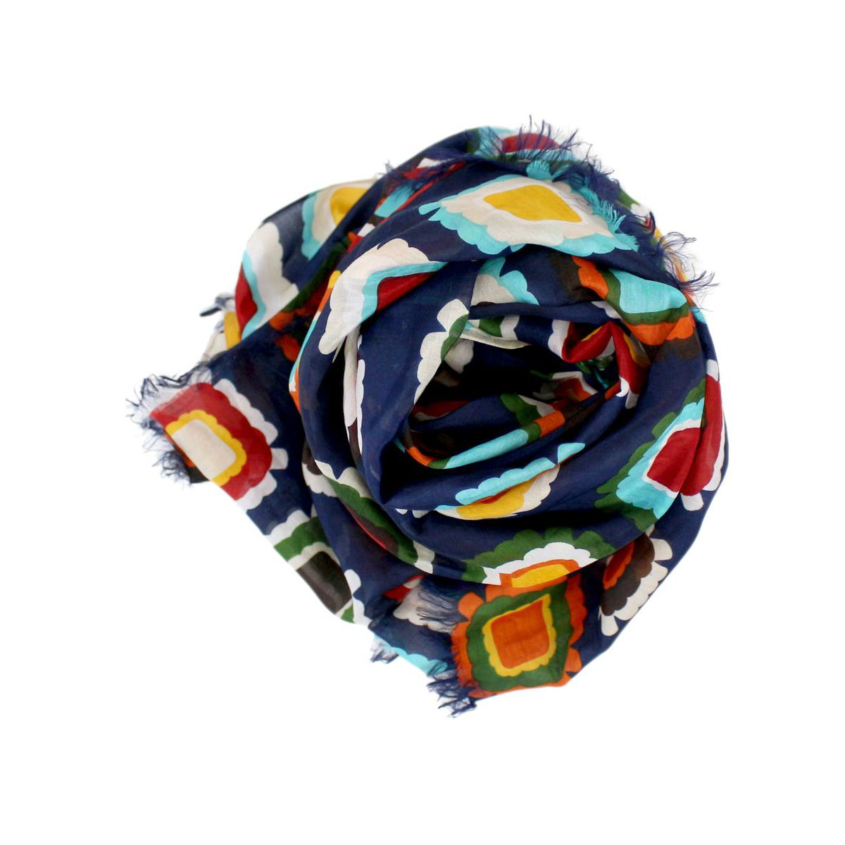 Fantasy cotton and silk blend scarf Blue fantasy ALTEA