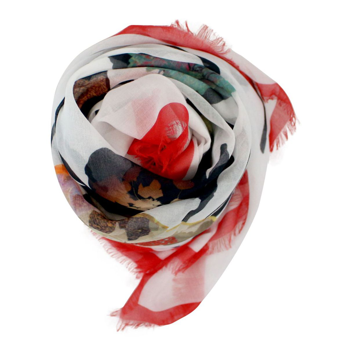 Lightweight scarf with print White red ALTEA