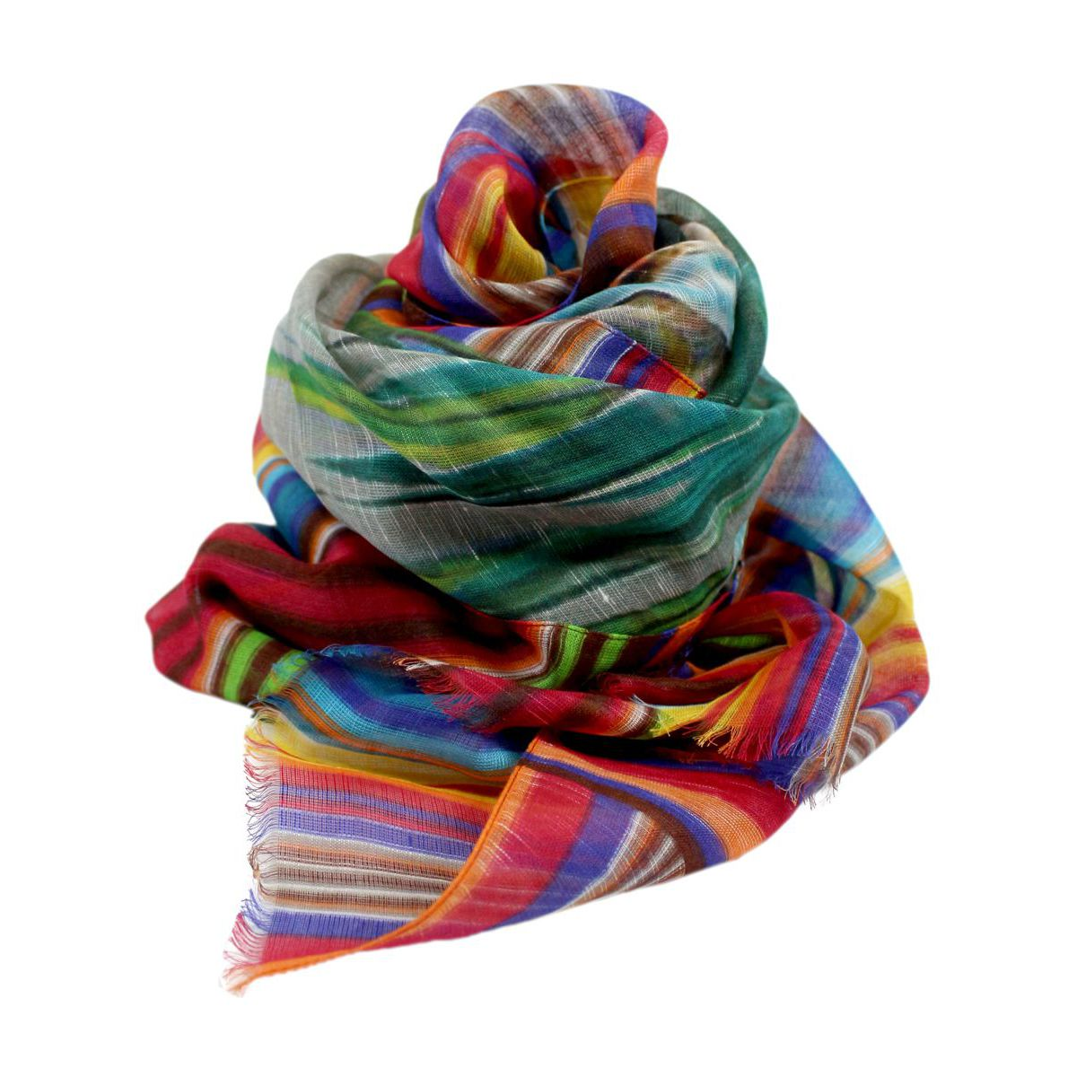 Mixed modal and linen scarf Rainbow ALTEA