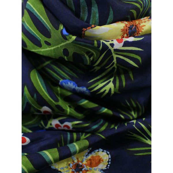 Silk scarf with floral print Blue / green Altea