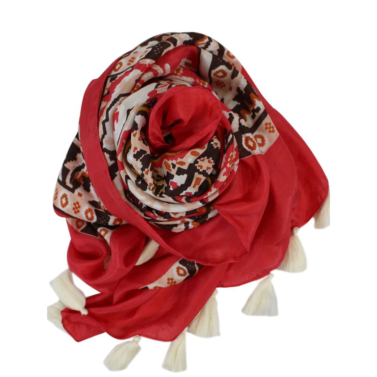 Foulard in seta a fantasia con nappine Corallo ALTEA