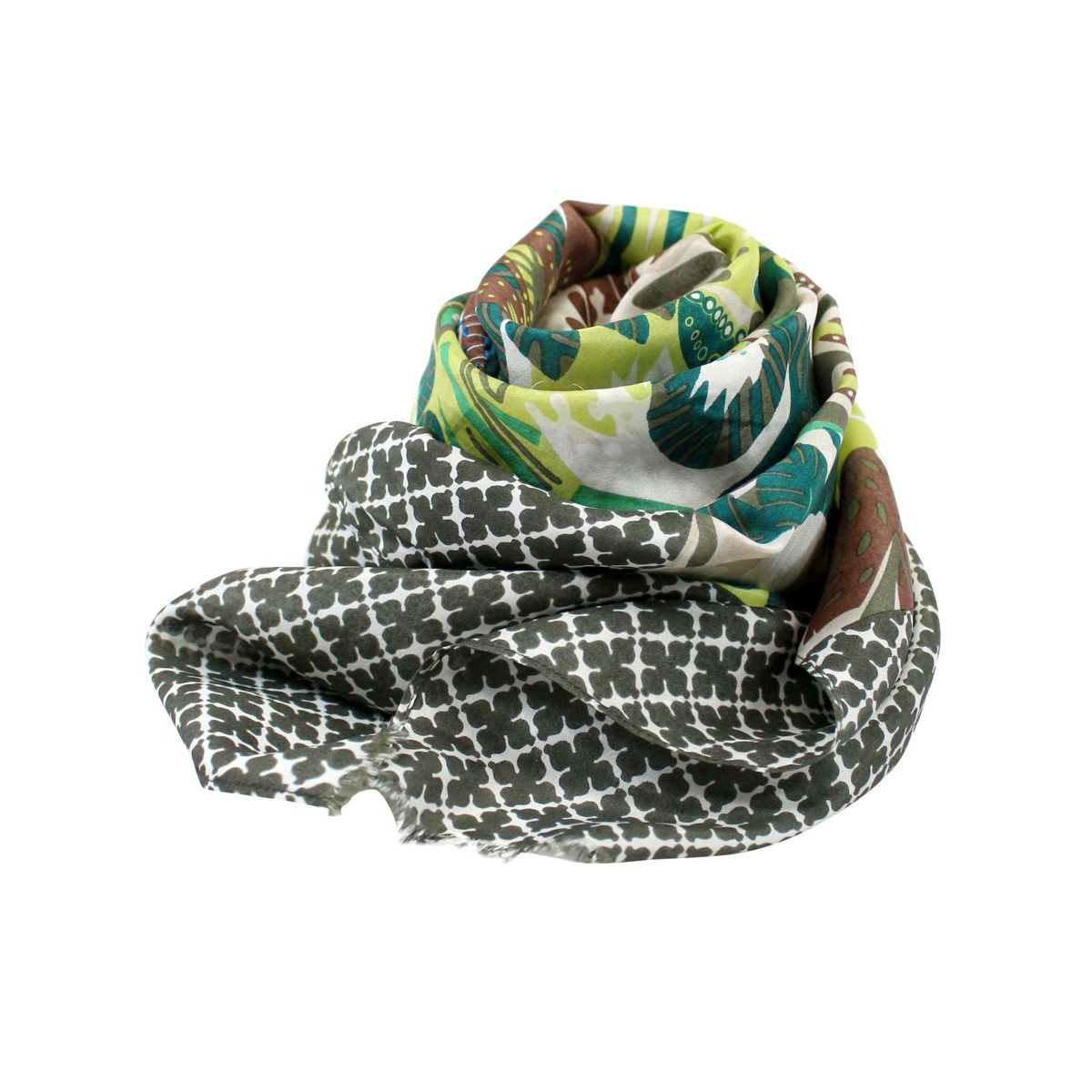 Lightweight silk scarf with print Military ALTEA