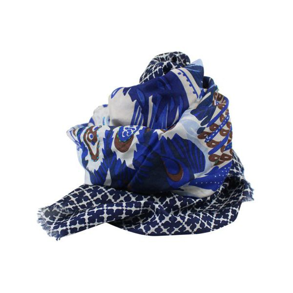 Lightweight silk scarf with print Blue fantasy Altea