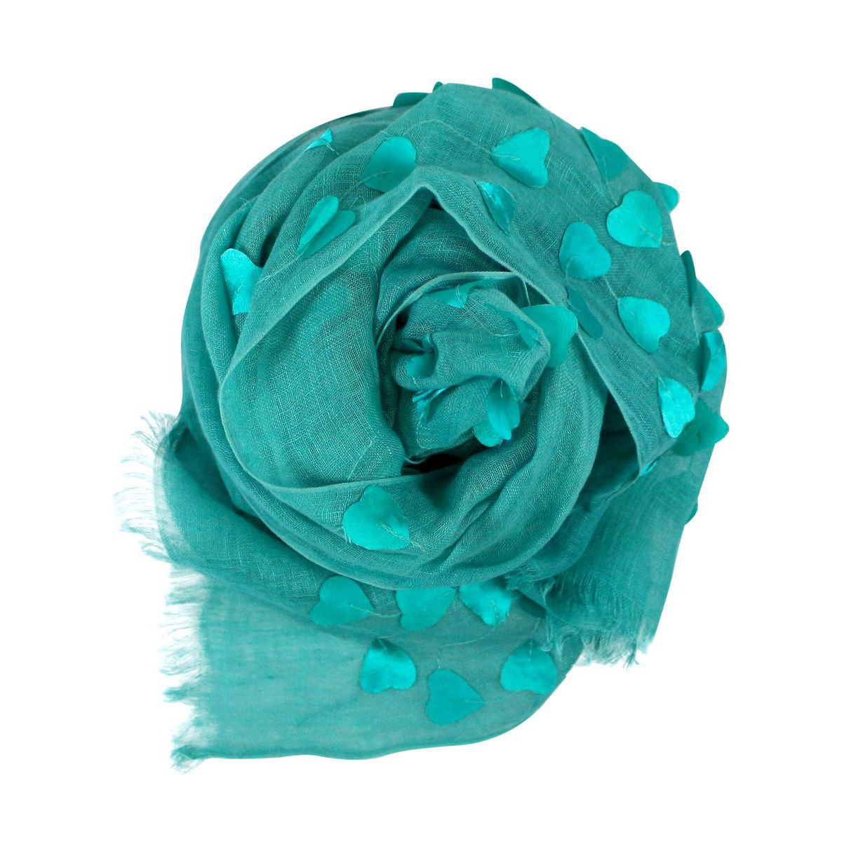 Lightweight linen scarf with fringe Aquamarine ALTEA