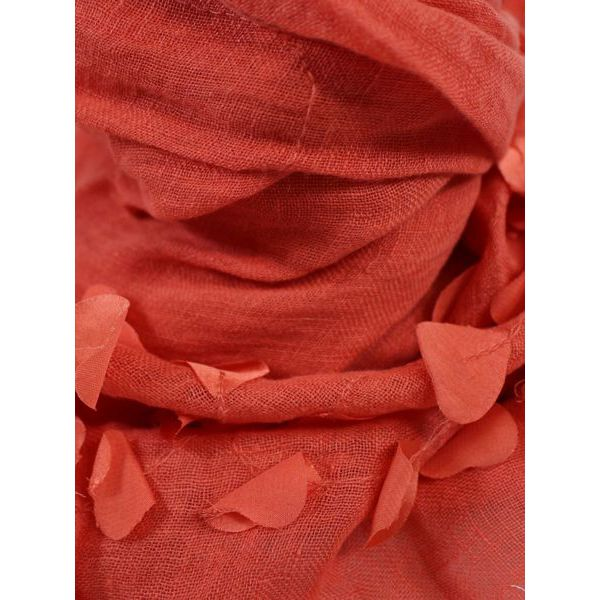 Lightweight linen scarf with fringe Coral Altea