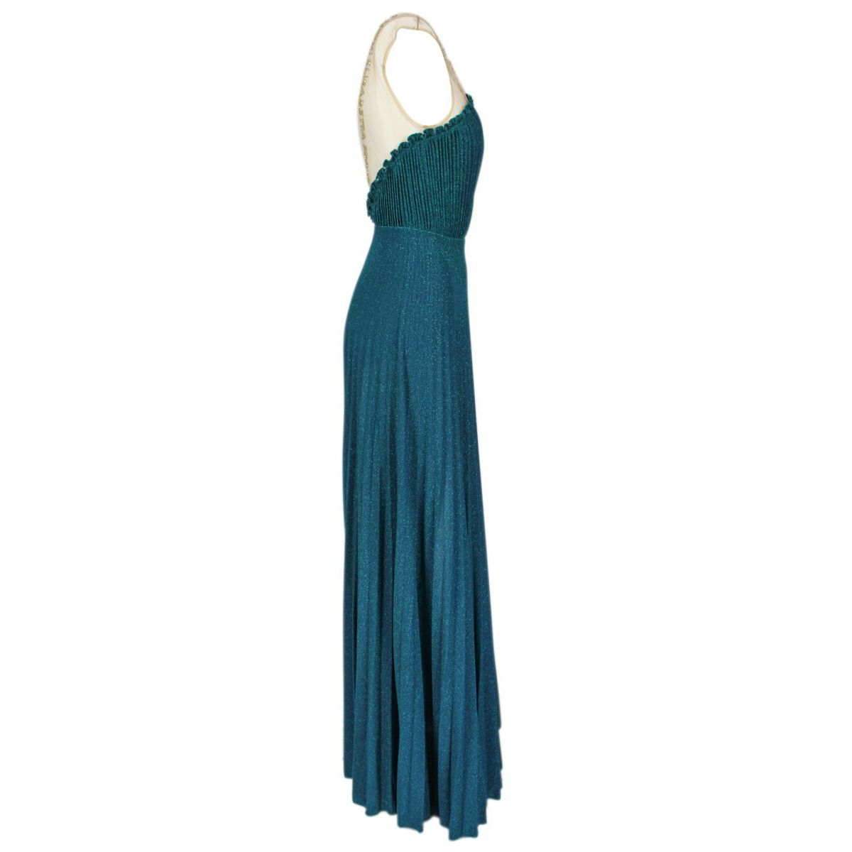 Long pleated lurex dress with belt Teal Elisabetta Franchi