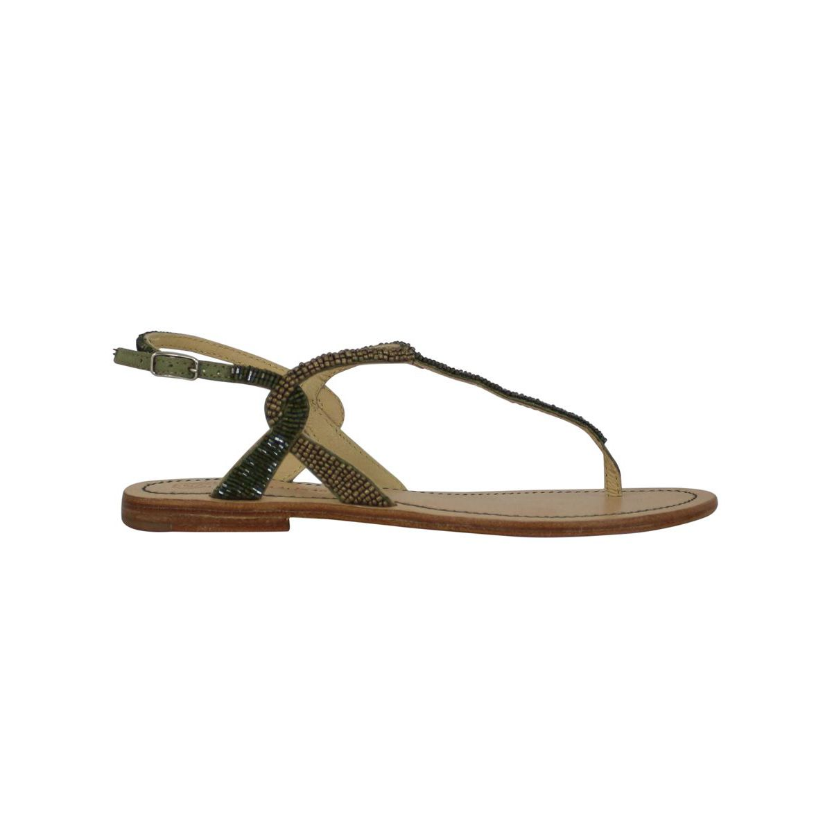 Capri sandals cuts beads Gold / green Maliparmi