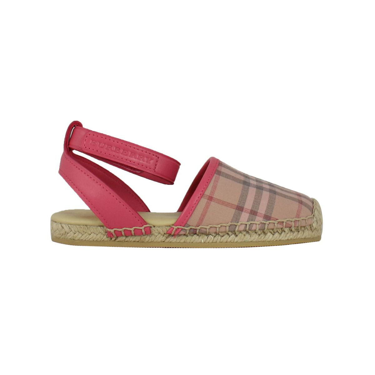 Canvas sandal with check pattern Pink check Burberry