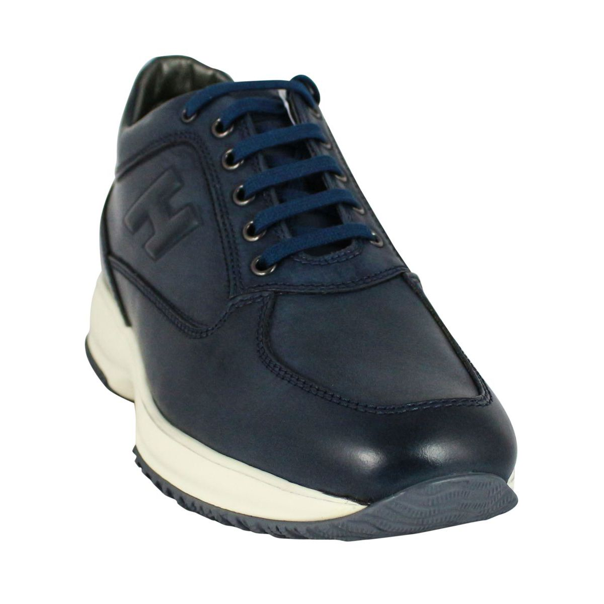 Interactive sneakers with H in relief Navy Hogan