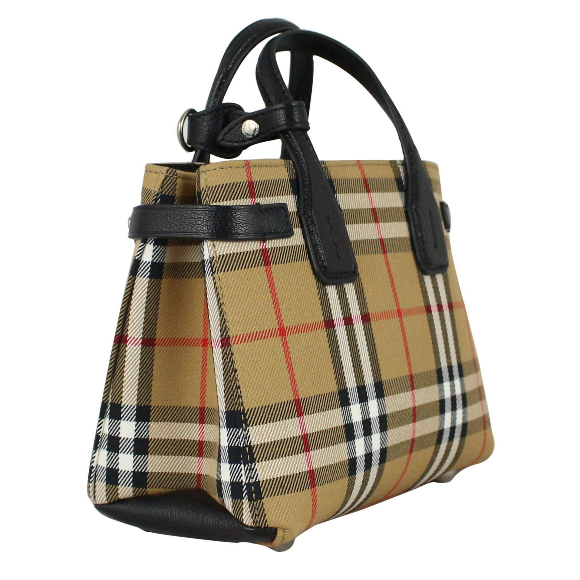 7ba8d2d419 Baby Banner bag in canvas Check / black, Burberry 4079964 ...