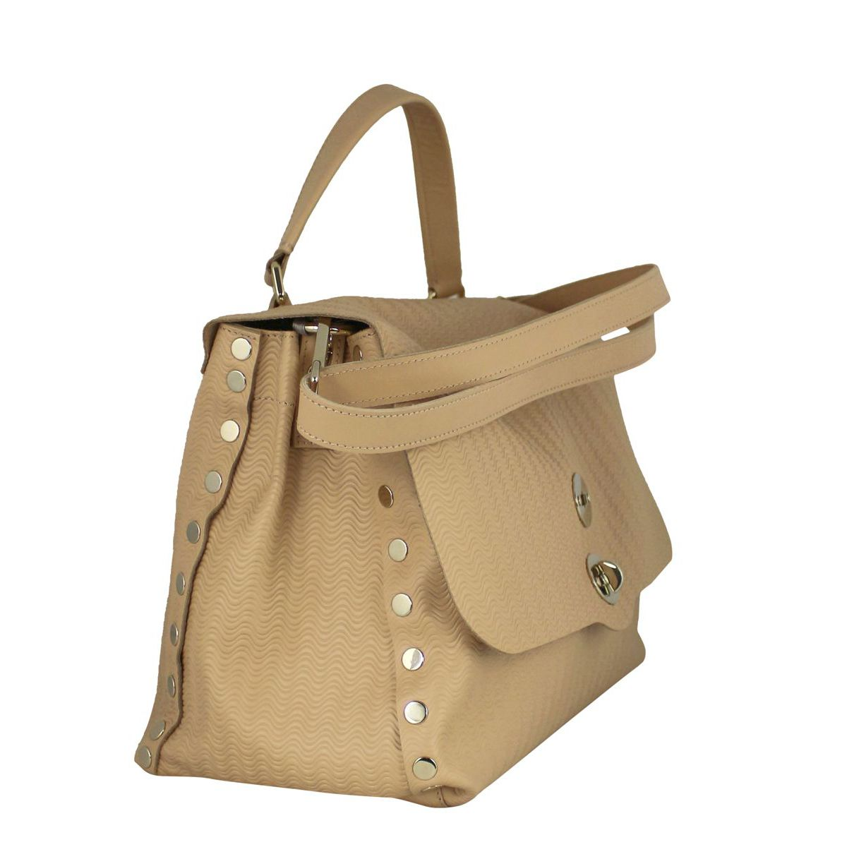 Postina M bag in Blandine Cashmere leather Nude Zanellato