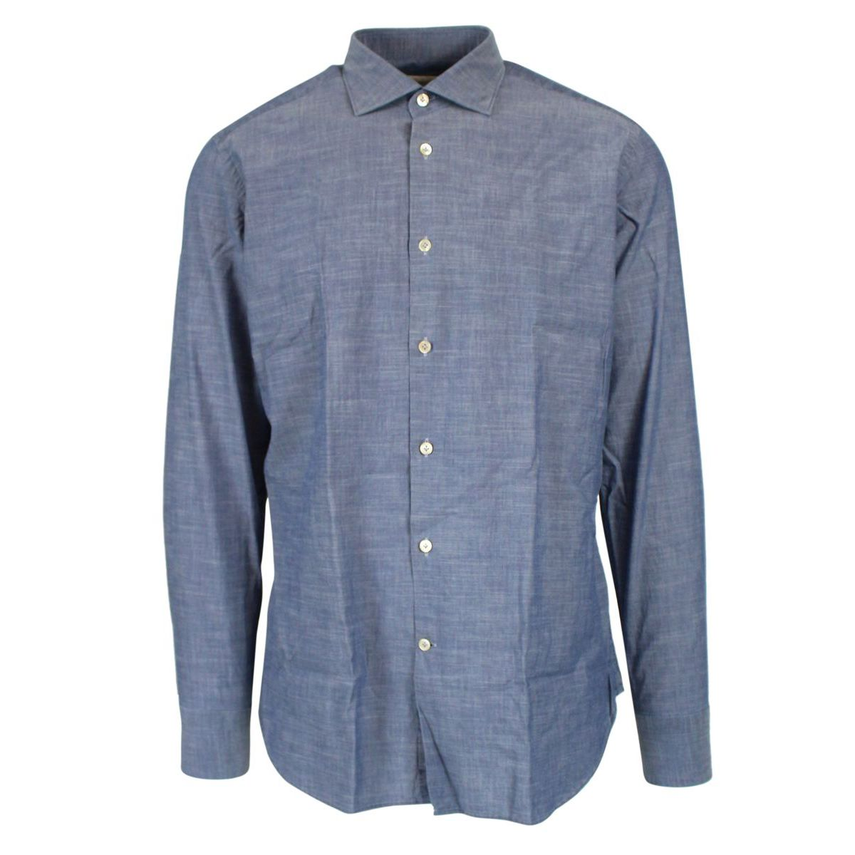 Shirt with French collar Light denim Guglilminotti