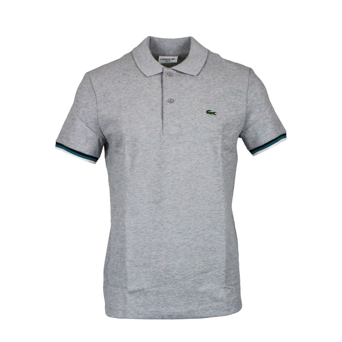 Slim Polo 100% cotton borders Light grey Lacoste