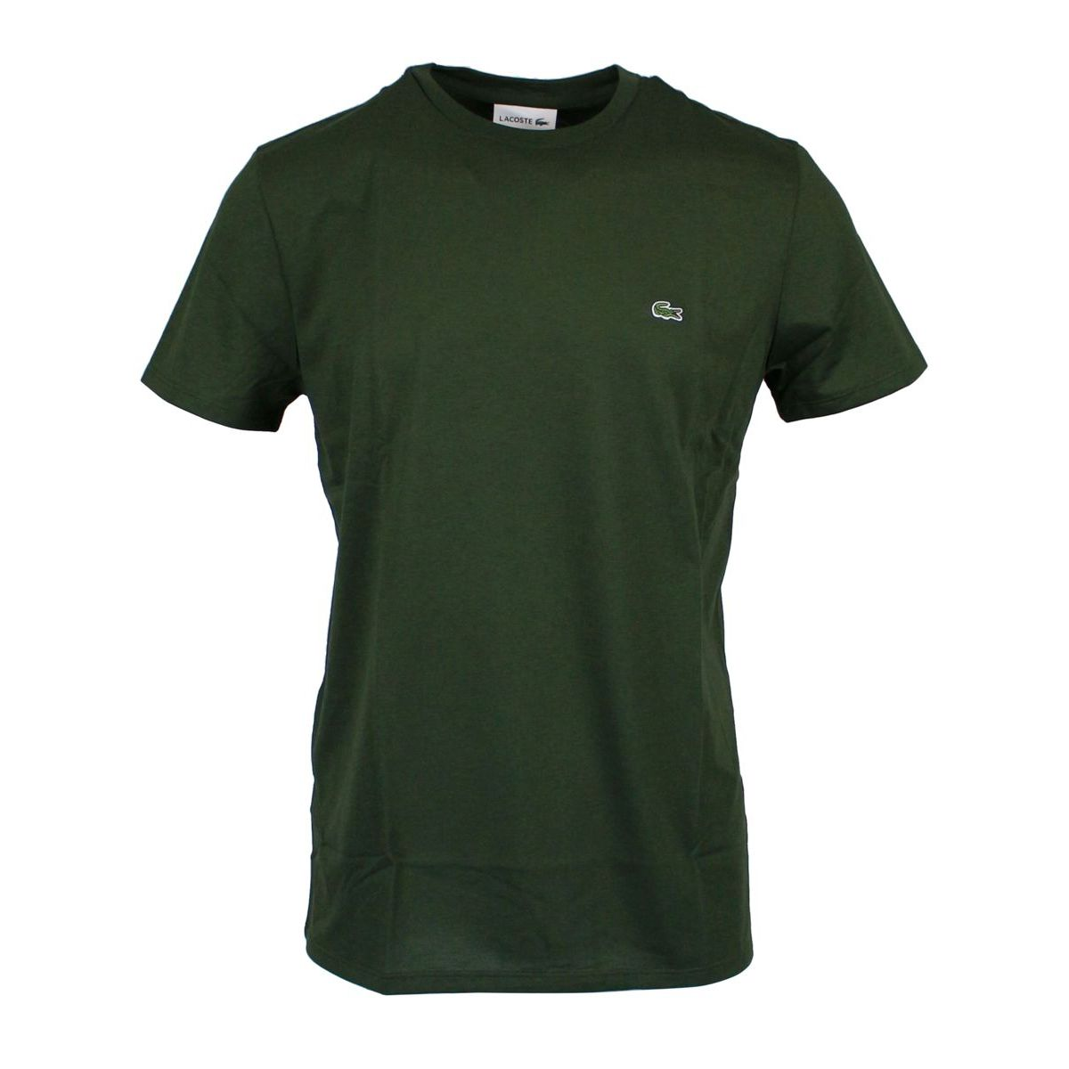 Crew-neck t-shirt with logo embroidery Military Lacoste