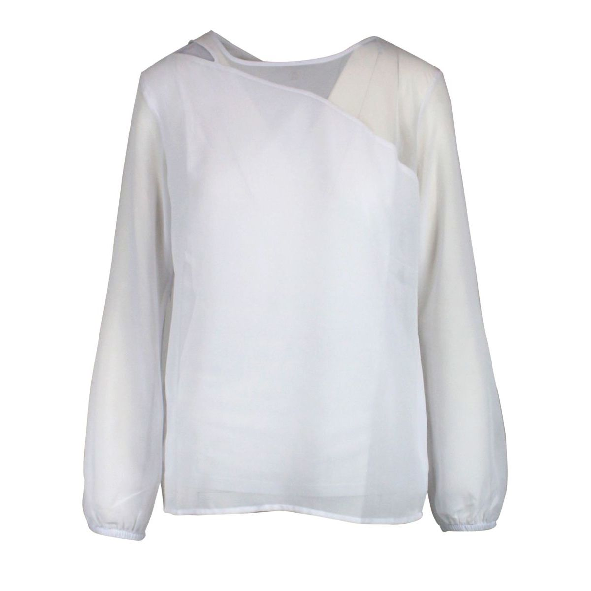 Plain-colored sheer fabric sweater White Patrizia Pepe