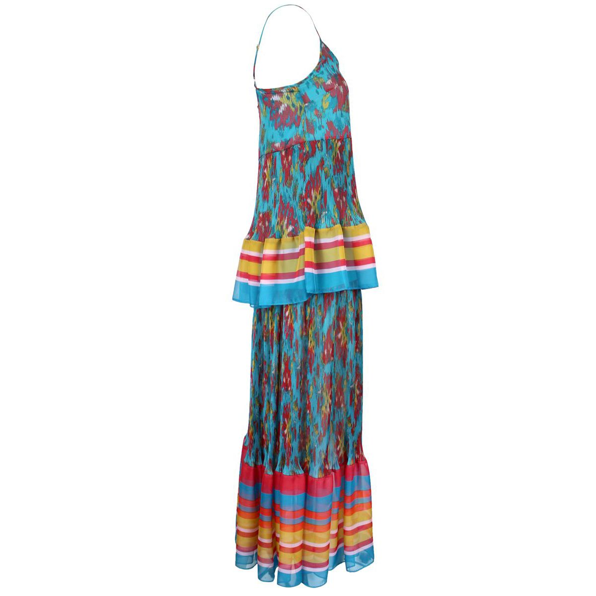 Long dress with multicolor floral print Blue fantasy Twin-Set