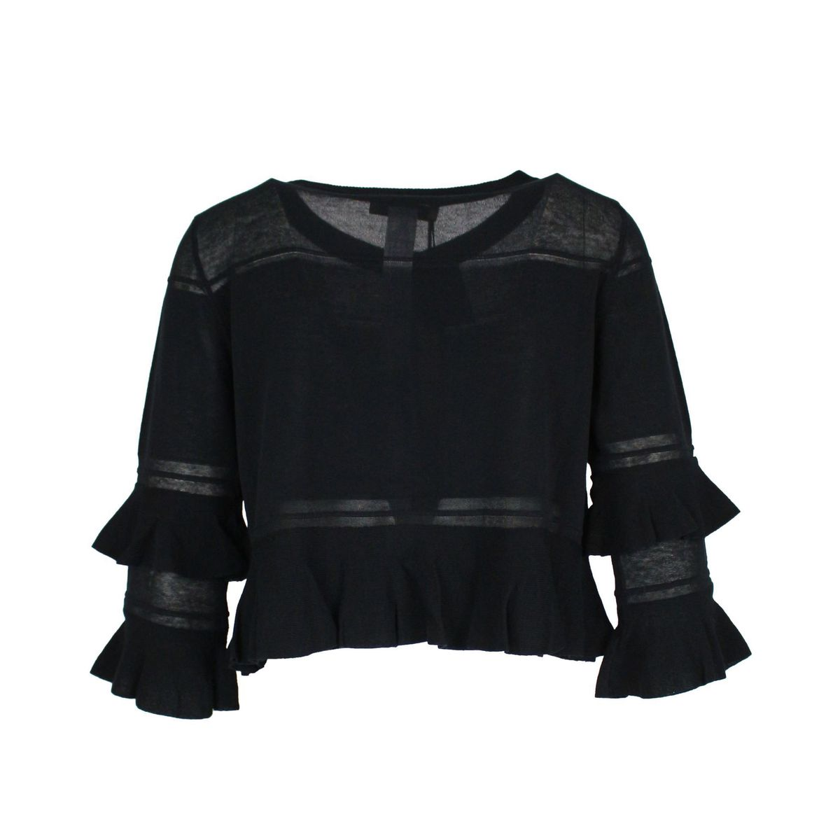 Crêpe cardigan with flounces Black Twin-Set