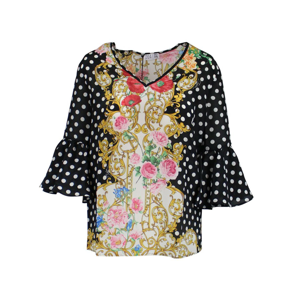 Blouse with polka dot print with flowers Black gold IDDA