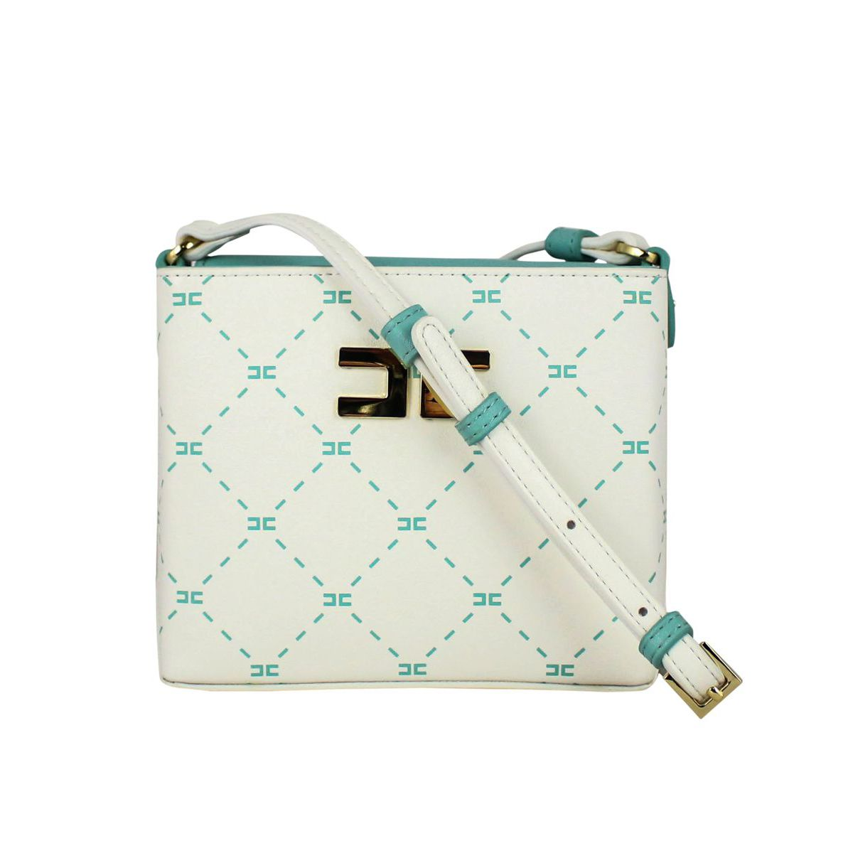 Shoulder bag with logo Ivory water Elisabetta Franchi