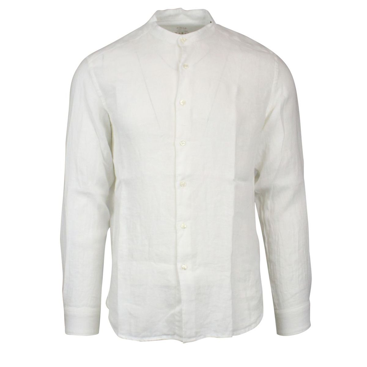 Slim linen shirt with mandarin collar White ALTEA