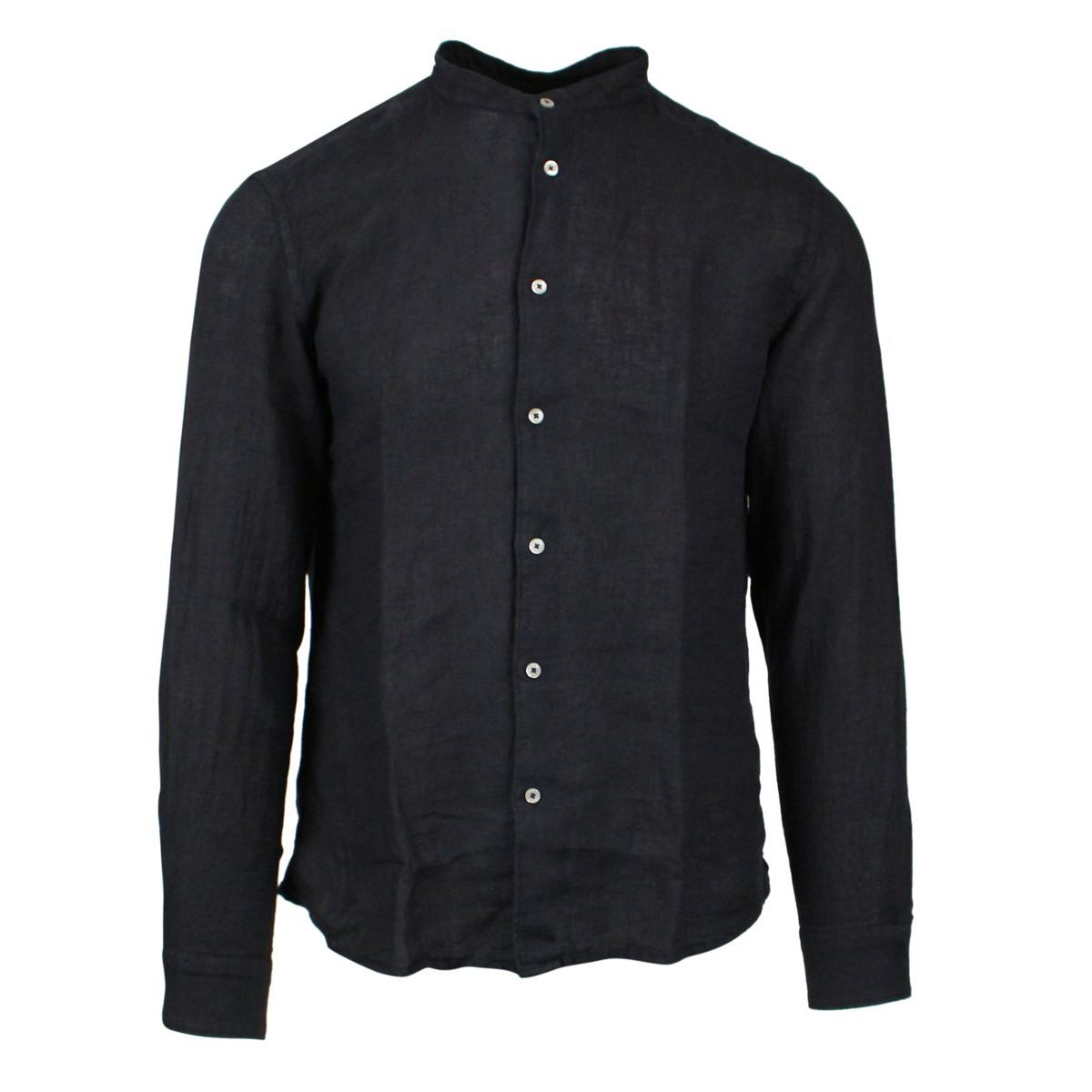 Slim linen shirt with mandarin collar Blue ALTEA