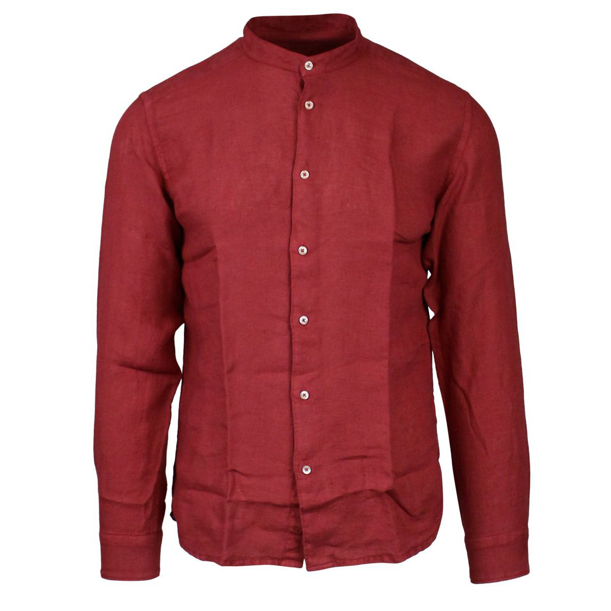 Slim linen shirt with mandarin collar Cherry ALTEA