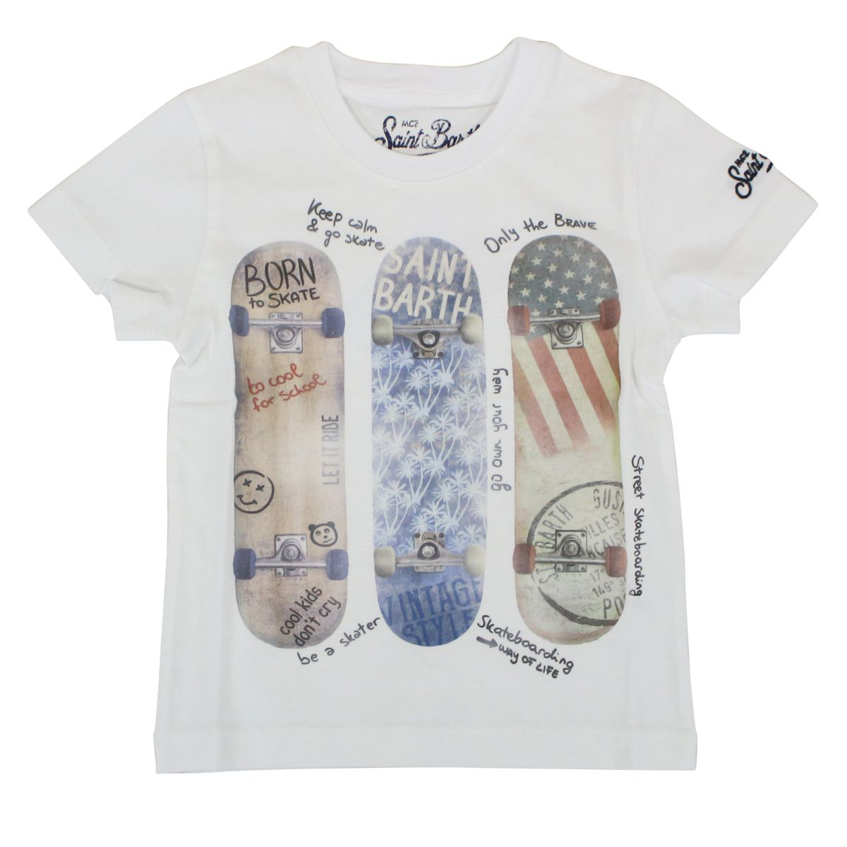 Cotton T-shirt with Skateboards print White MC2 Saint Barth